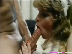 Classic porn with mother and daughter sharing one hard cock