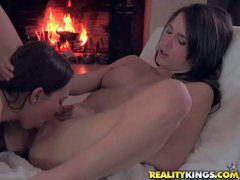 Sweet lesbians Malena Morgan and Lily Love strip naked and