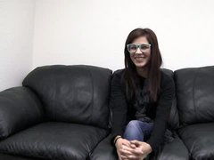 Girl nets door Paige with glasses gets interviewed in the