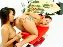 Asian chick analhole licking and fucking