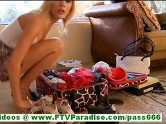 Casey stunning blonde amateur with natural tits showing pussy and trying clothes flashing panties