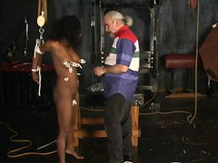 Slut gets punished with clamps around her pussy and clit
