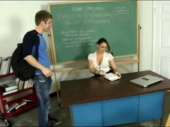 Young teacher taste sperm student