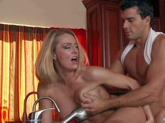 Steaming hot seductive blonde milf brenda James with perfect firm