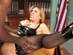 Black dick fucks Sara Jay in the office