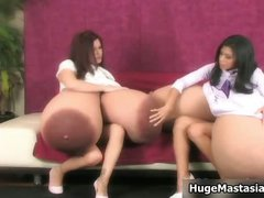 Two babes with big tits having part1