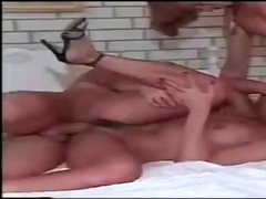 Iranian brunette takes on two hard cocks and gets each end plugged