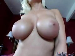 Blonde MILF Devon Lee has huge tits and loves huge black cocks POV style
