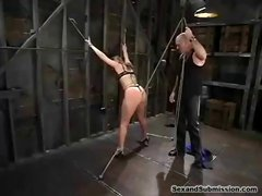Chubby blonde slave gets strung up and abused and fucked by her master