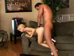 Blonde teen in pink lingerie is filled with his dick