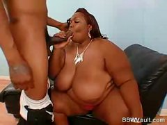 Very fat ebony taking good care of a dick