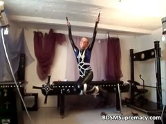 Kinky blond hoe gets tied with ropes part2