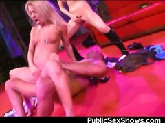 2 blonde fucking a guy at strip show