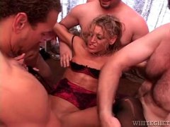 Skinny milf filled in hot gangbang video