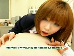 Rio Hamasaki innocent lovely Japanese girl teasing a man