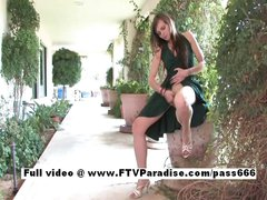 Awesome girl Amelia brunette public masturbating and posing outdoor